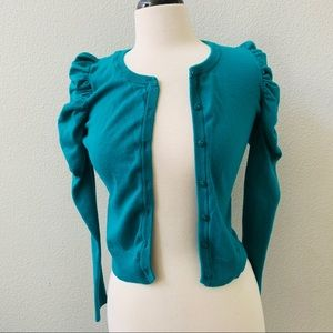 H&M teal blue knitted pouf sleeve open cardigan S